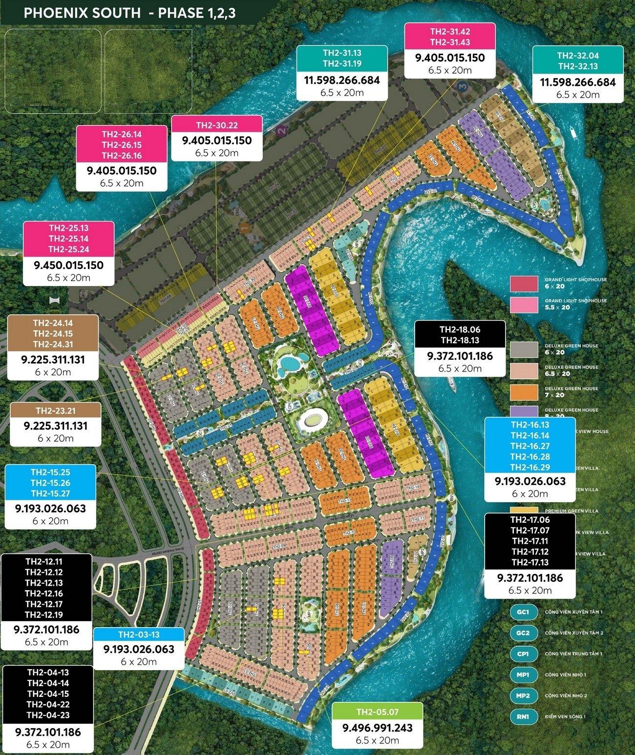 Mặt bằng tổng thể phân khu Đảo Phượng Hoàng tại Aqua City Đồng Nai
